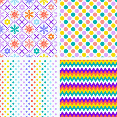 Set of 4 seamless vector pattern - textile design