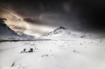 Great Britain, Scotland, Highland, Buachaille Etive Mor, dramatic sky