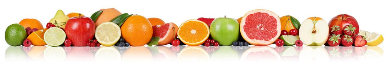Früchte Orangen Zitronen Apfel Erdbeeren in einer Reihe
