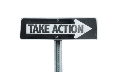 Take Action direction sign isolated on white