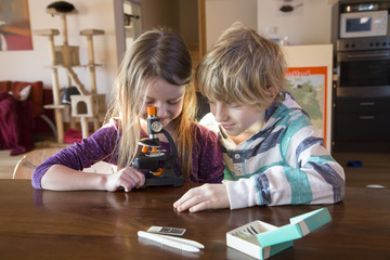 Brother and sister with microscope at home