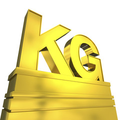 KG in goldenen Lettern auf Podest