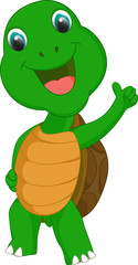 cute turtle cartoon give thumb up