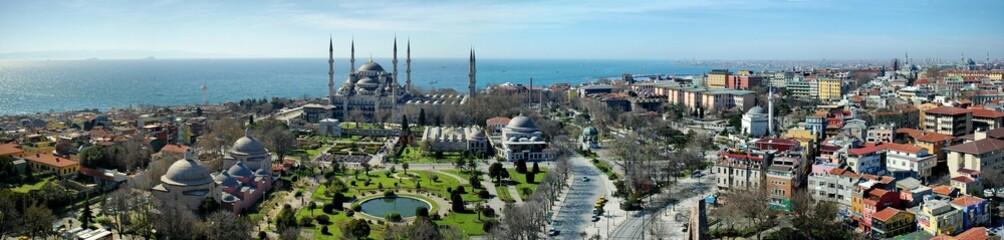 Blue Mosque Panoroma at Hagia Sophia Minaret Istanbul
