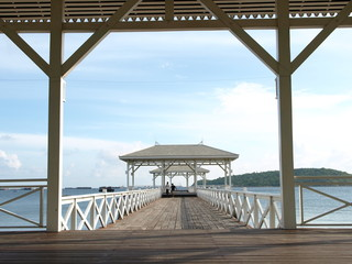 Summer, Travel, Vacation and Holiday concept - Wooden pier in Thailand