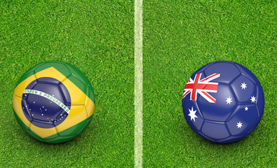 Teams Brazil vs Australia football tournament match