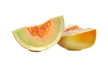 sliced Thai Muskmelon on white background