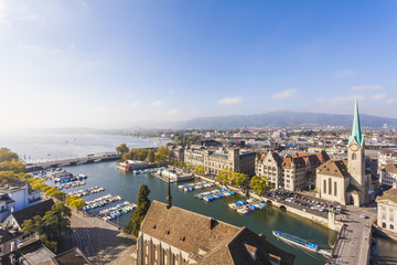 Switzerland, Zurich, Cityview, Limmat River, Town House Quai, Fraumuenster Church and Muenster Bridge