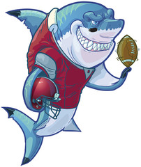 Mean Cartoon Football Shark with Stick and Puck