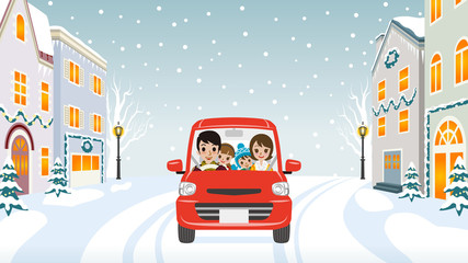 Driving Family Winter town