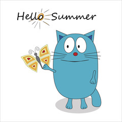 Hello summer cartoon character - vector