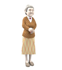 3D rendering old woman standing isolated on white background