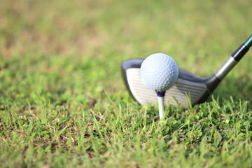 golf ball on tee in a beautiful golf club