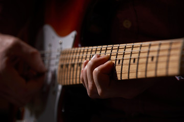 Close Up Of Electric Guitar Player