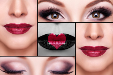 Make up collage of eyebrows, eyelashes and lips