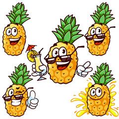 Vector set cartoon character - Happy pineapple