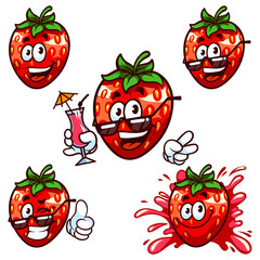 Vector set cartoon character - Happy strawberry