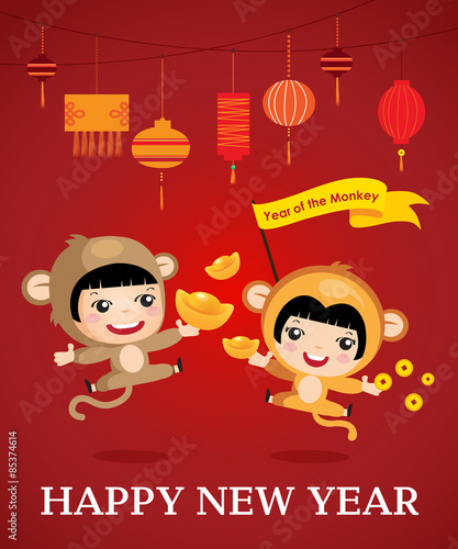 happy new year of the monkey character design cartoon boy girl happy chinese - Chinese New Year Of The Monkey