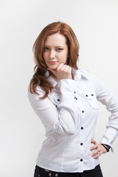young business woman thinking on white background