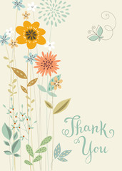 Thank You Vertical Floral Card