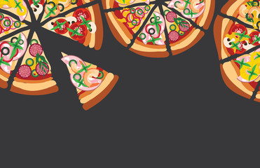 Vector pizza background with copyspace for text