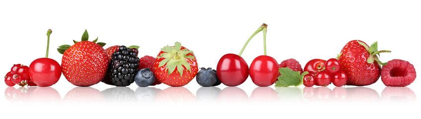 Foto auf Gartenposter Fruchte Beeren Früchte Erdbeeren Himbeeren Kirschen in einer Reihe