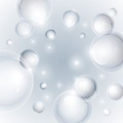 Realistic shiny transparent water drop bubbles on light grey bac