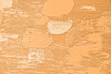 Abstract texture from paintings on canvas in close-up. Canvas and backgrounds in orange color structure