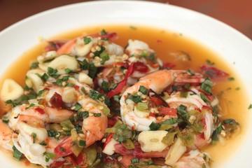Spicy fresh shrimp - asia food