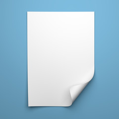 Blank empty sheet of white paper with curled corner