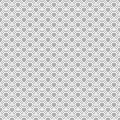 Japanese seamless vector pattern. Traditional oriental wave background. Grey and white