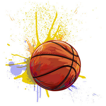 Basketball Created by professional Artist. This illustration is created by Wacom tabletby using grunge textures and brushes