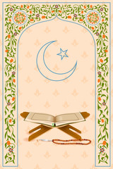 Koran in Ramadan Kareem (Happy Ramadan) background