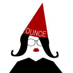 woman with red dunce cap