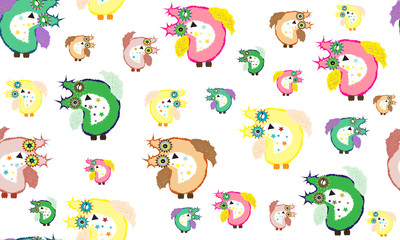 Owl colorful and fluffy pattern