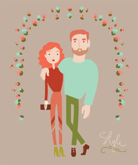 Young stylish couple in love. Man and woman fashion. Vector illu