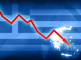 financial crisis in Greece red arrow - concept news background illustration