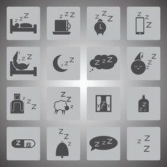 Vector black sleeping icon set
