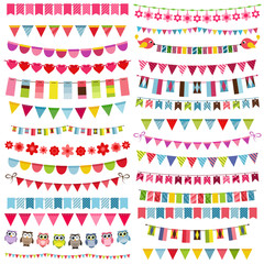Colorful flags, bunting and garland set