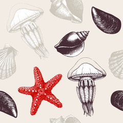 Vector seamless pattern with hand drawn sea shells, sea star and jellyfish sketch