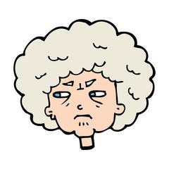 cartoon bitter old woman