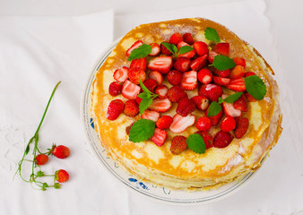 blinis pie with srawberry