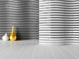 white and golden vases near the wall,