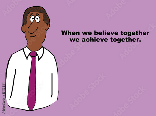 business cartoon of african american businessman when we believe