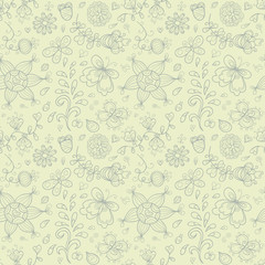 Doodle summer vector seamless pattern. Retro subdued colors