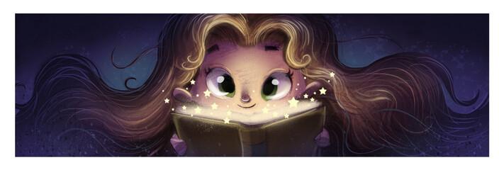 niña leyendo un libro de magia