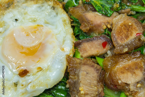 Thai food - Stir fry crispy pork with Kale (Kana Moo Grob)