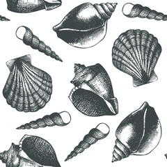Vintage background with ink hand drawn sea shells. Seamless vector pattern