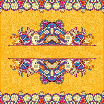 floral yellow invitation card, vintage paisley frame design