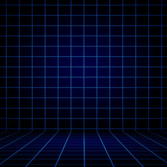 Empty Dark blue Graph with Black vignette Studio well use as bac